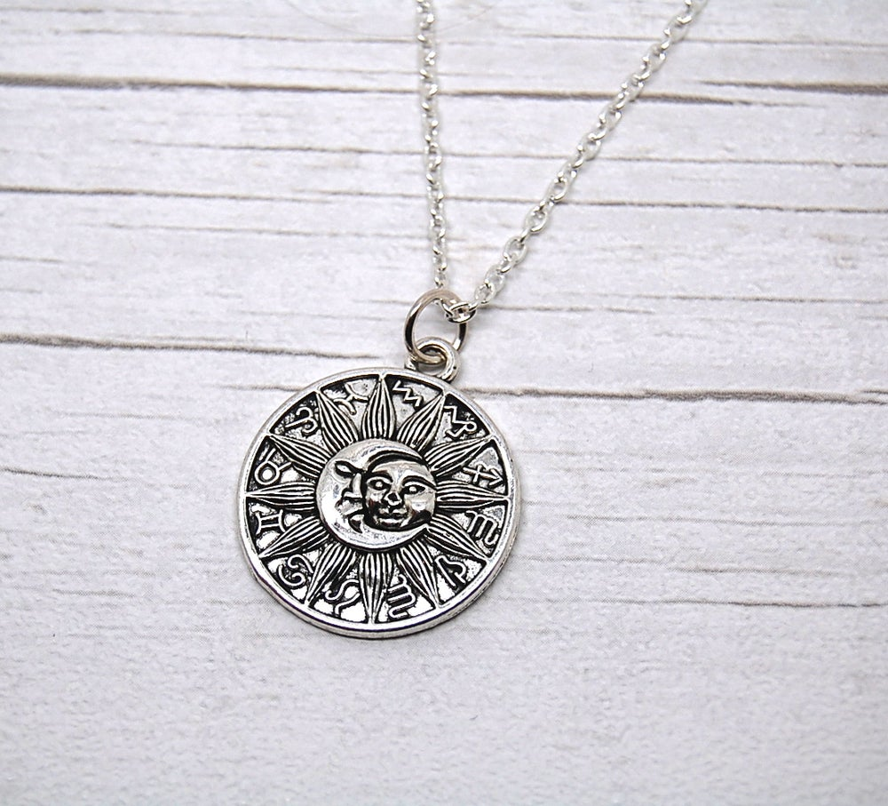 Image of Silver Sun and Moon Medallion Necklace