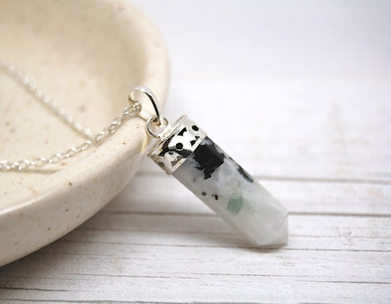 Image of Silver Rainbow Moonstone Point Necklace