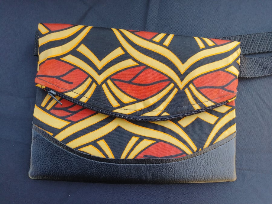 Image of Designs By IvoryB Fanny Pack- Mustard Orange Black Ankara African Print