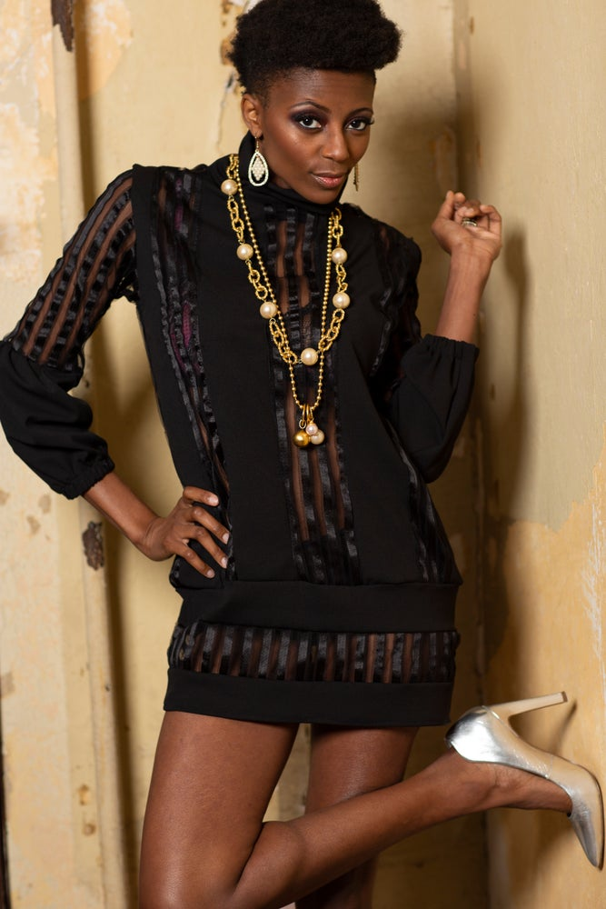 Image of Black Sheer Shadow Stripe Tunic with Balloon Sleeves