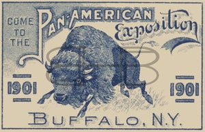 Image of Pan-American Exposition Blue Charging Buffalo