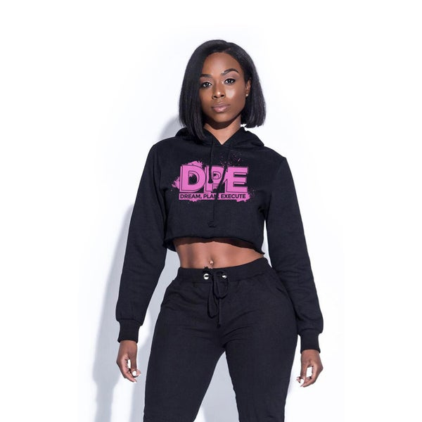 Image of DREAM PLAN EXECUTE BLACK CROP TOP HOODIE PINK PRINT