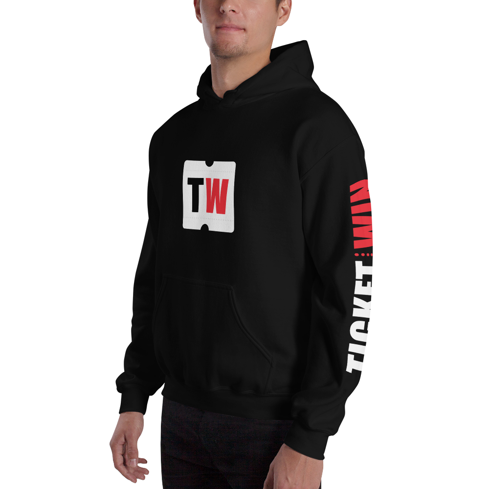 Image of Unisex Black Ticketwin Hoodie - White Logos
