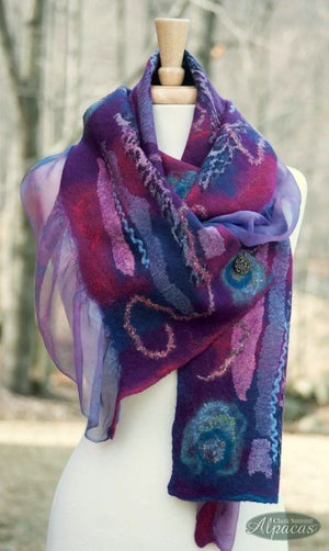 Image of Felted Scarf Nuno Felting Workshop Alpaca Wool Silk Class
