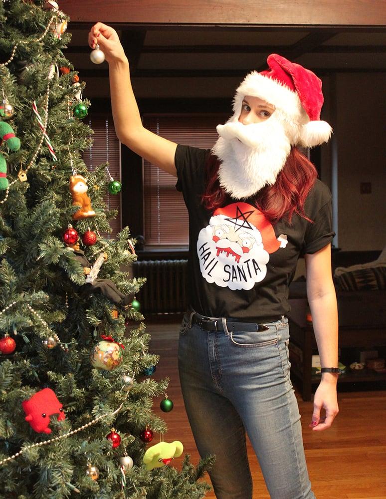 Image of Hail Santa Black T-shirt