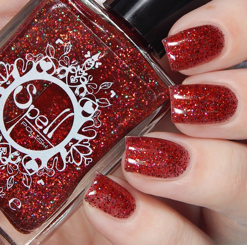 Image of ~Santa Baby~ red tinted base w/red & magenta microglitters & opal glitter accents!