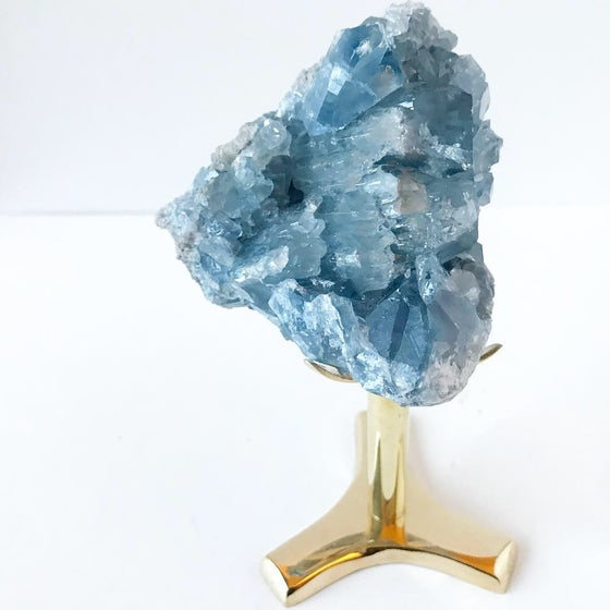 Image of Celestite no.982 Vintau Tall Brass Stand Pairing