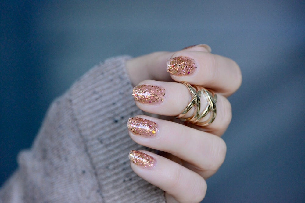Image of ~Sleighbells Ring~ is a glitter top coat w/yellow, gold, magenta and pink glitters featuring lots of