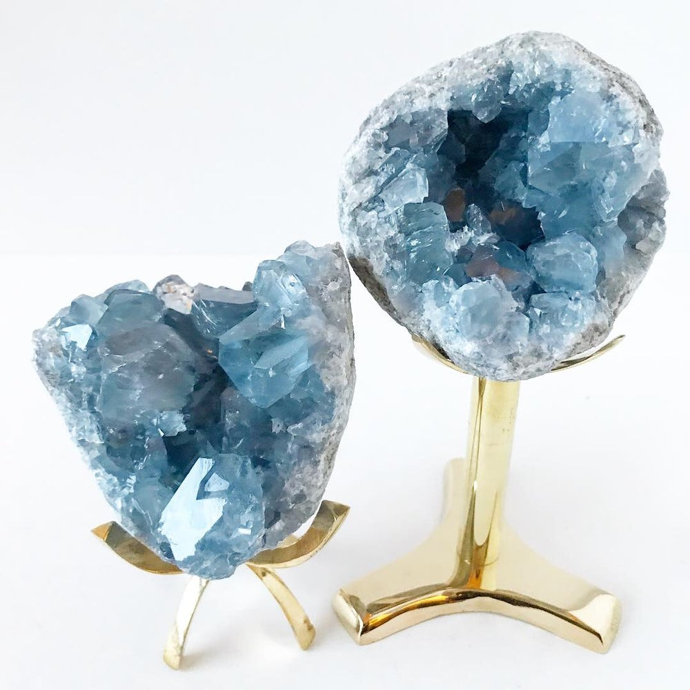 Image of Celestite no.96 Vintau Tall Brass Stand Pairing