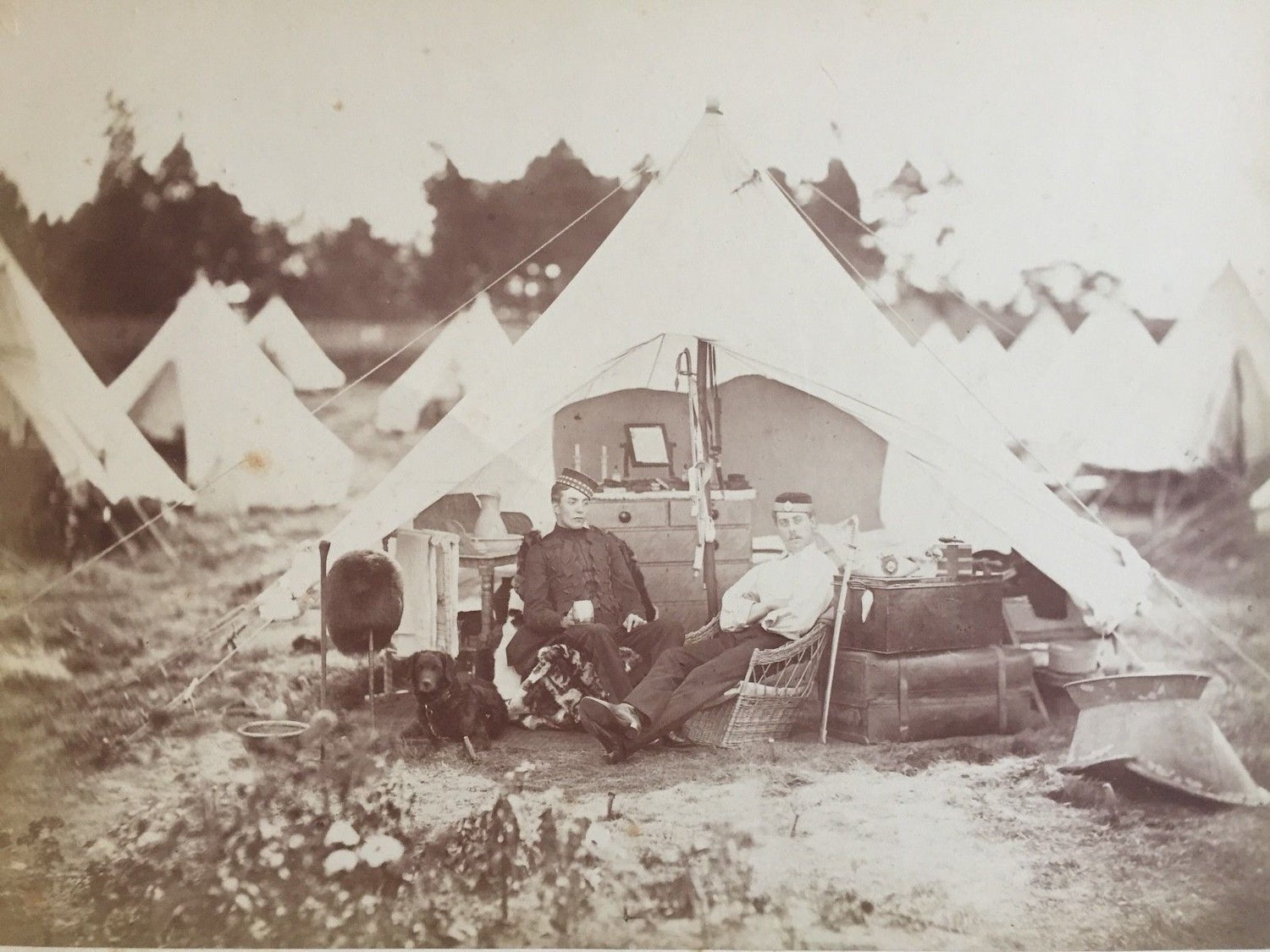 Image of Hills & Saunders Eton: albumen portrait of two English soldiers in their tent