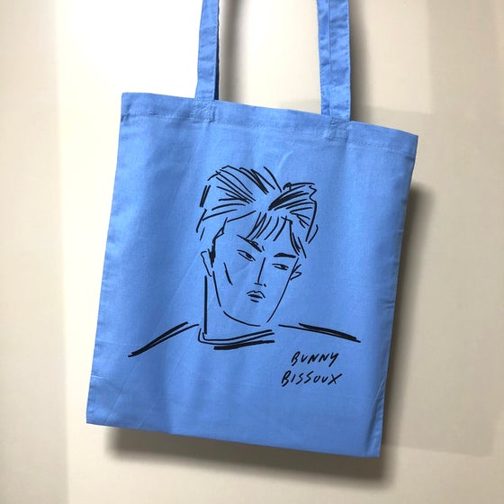 Image of BUNNY BISSOUX - BOY - TOTE BAG - BLUE / LIGHT BLUE