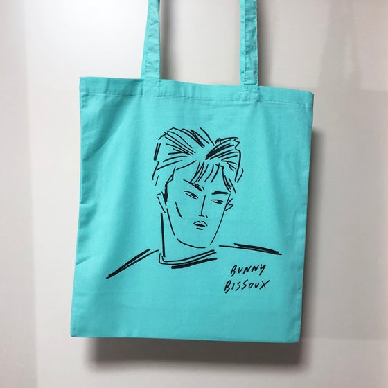Image of BUNNY BISSOUX - BOY - TOTE BAG - MINT / LIGHT PISTACHIO