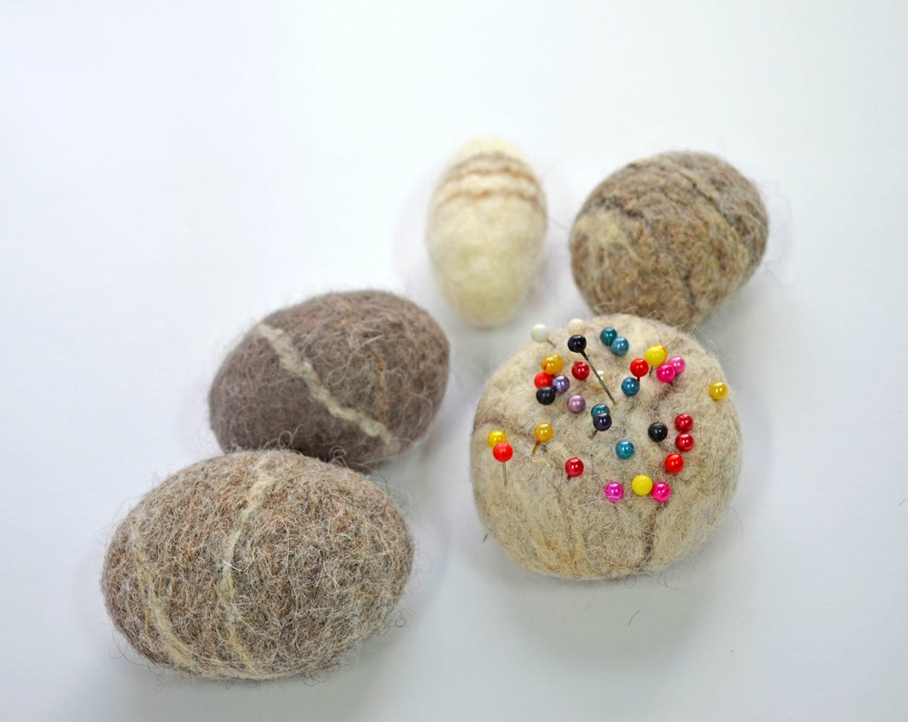 Image of Wet felted pebble pin cushion project