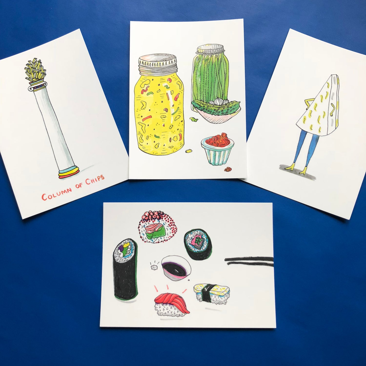 Image of Postcards Chips Cheese Sushi Pickles