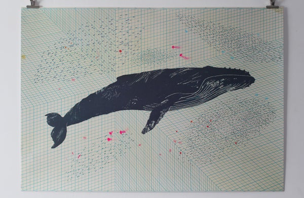 Image of Hand finished Humpback Whale poster with fluorescent screen printed layer