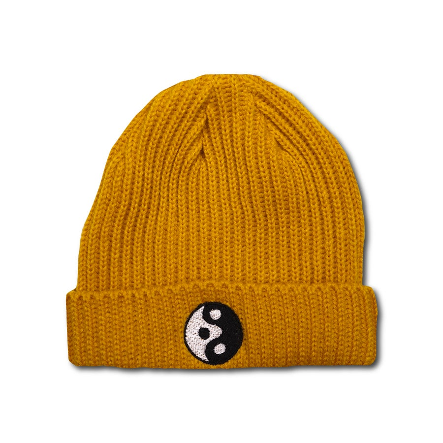 "Image of TAKEGOODCARE™ ""YINYANGISH"" BEANIE YELLOW"