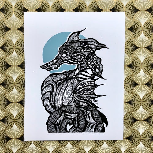 Image of Inktober: Seahorse (Card & Print Available)