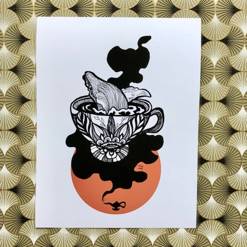 Image of Inktober: Reading Tea Leaves (Card & Print Available)