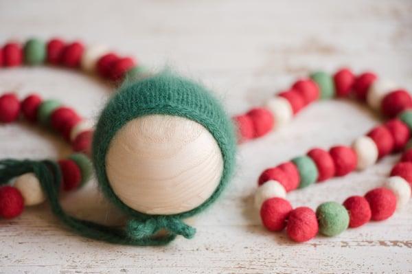 Image of *Holiday* Garland Green {Angora} Bonnet