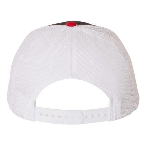 Image of BW BLK/RED/WHITE TRUCKER HAT - 112