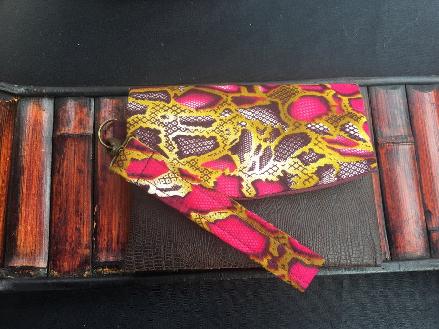 Image of Designs By IvoryB Boon Wallet-Plum magenta snakeskin Ankara African Print