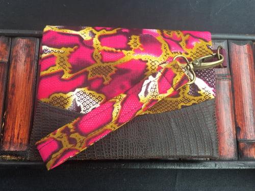 Image of Designs By IvoryB Boon Wallet-Plum magenta snakeskin Ankara African Print