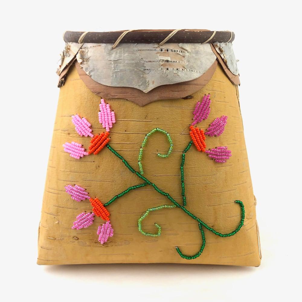 Image of Birchbark Basket with Floral Beadwork