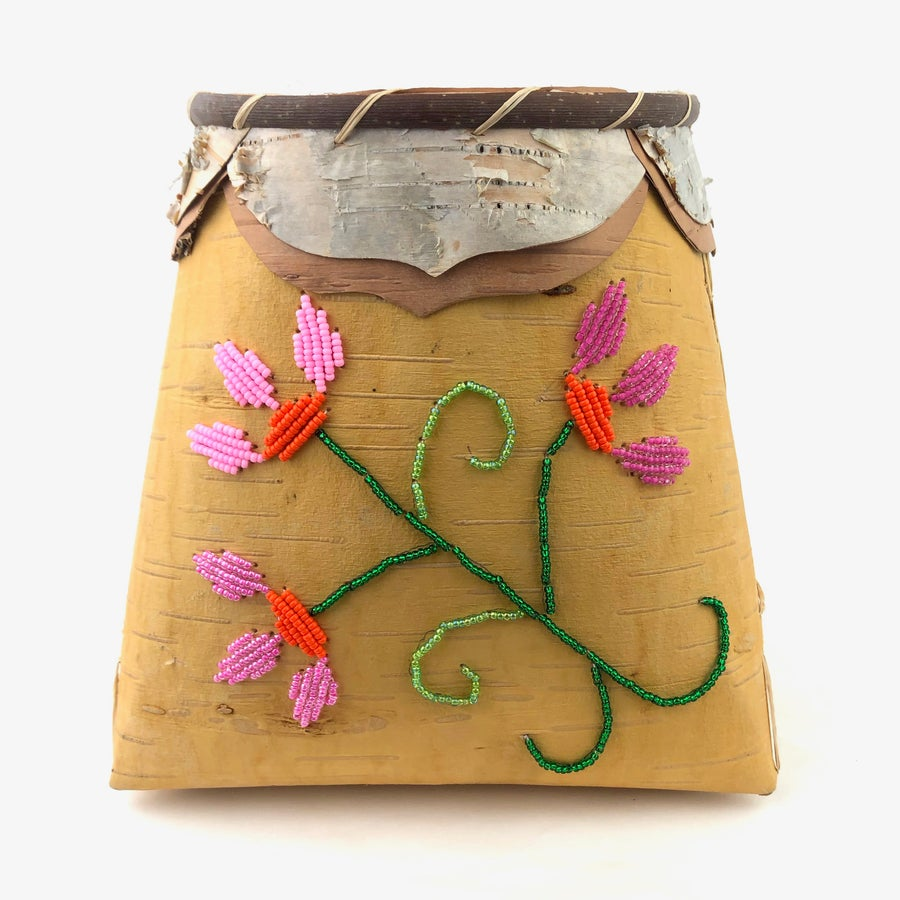 Image of Birchbark Basket with Floral Beadwork