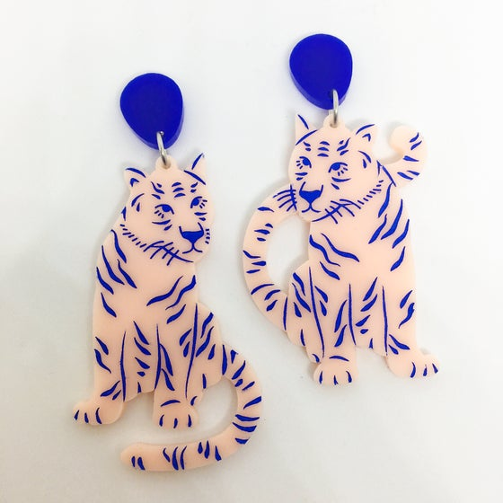Image of Tiger Twins Dangles (Peach-Pink/Lapis Blue)