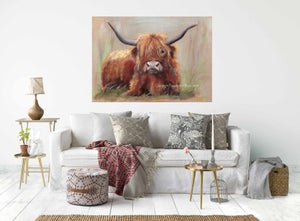 Image of PAIR OF HIGHLAND COW, CHUNKY CANVAS WRAPS