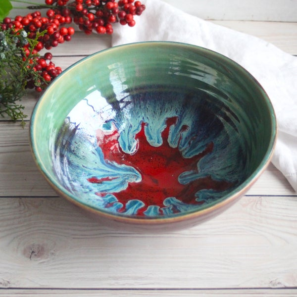Image of Gorgeous Serving Bowl in Beautiful Green and Crimson Glazes Handmade Stoneware Pottery Made in USA
