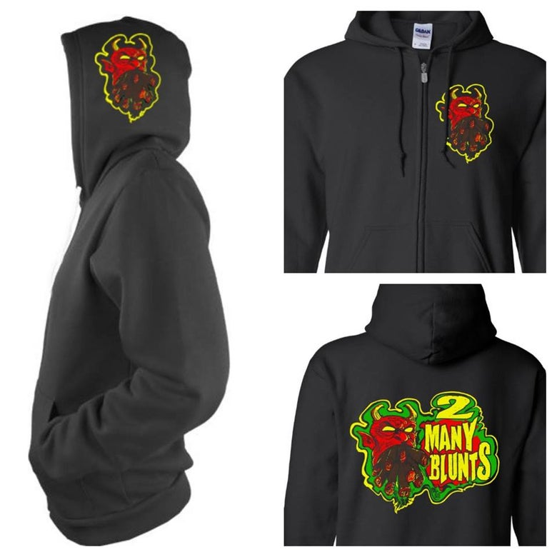 Image of 2 MANY BLUNTS ZIPPER HOODIE (IN STOCK)