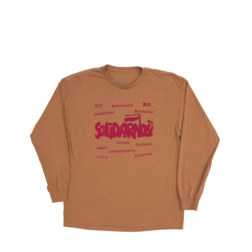 Image of Solidarity Long Sleeve (almond butter/raspberry)