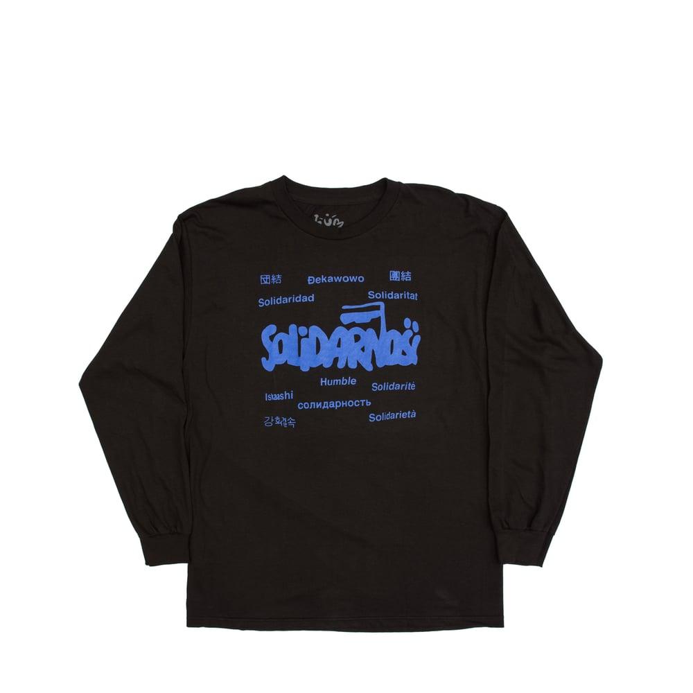Image of Solidarity Long Sleeve (black/raver blue)