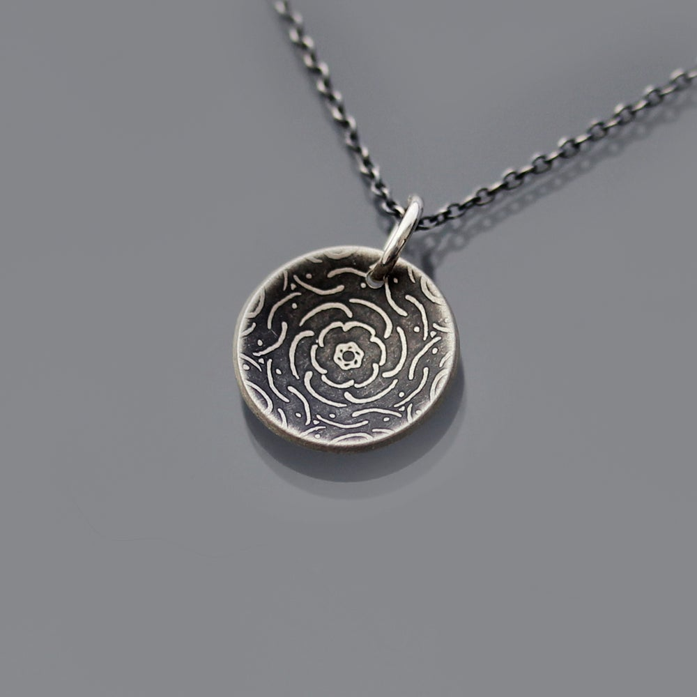 Image of Tiny Sterling Silver Peony Necklace
