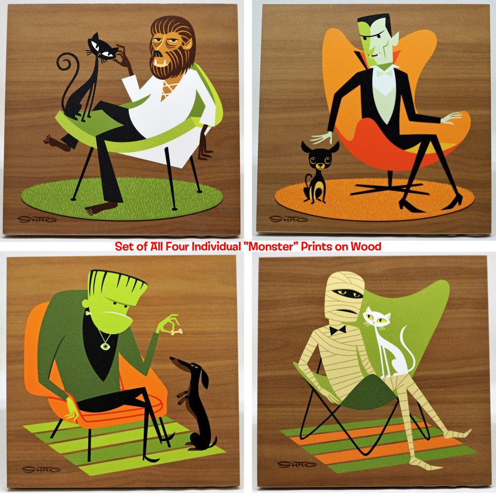 "Image of SAVE! on All 4 ""Monster"" Prints <br>Limited Edition <br>Prints on Wood"