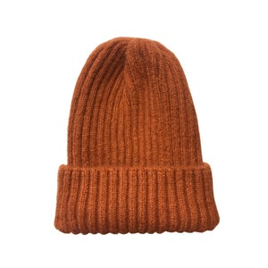Image of Soft fisherman's style beanie/ watch cap. Rust £7.50)
