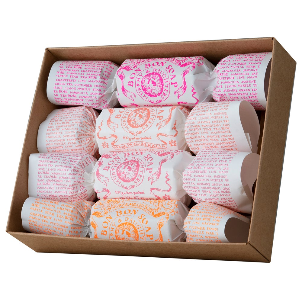 Image of Bon Bon Soap - Clear gift box with 4 different coloured & fragranced soaps
