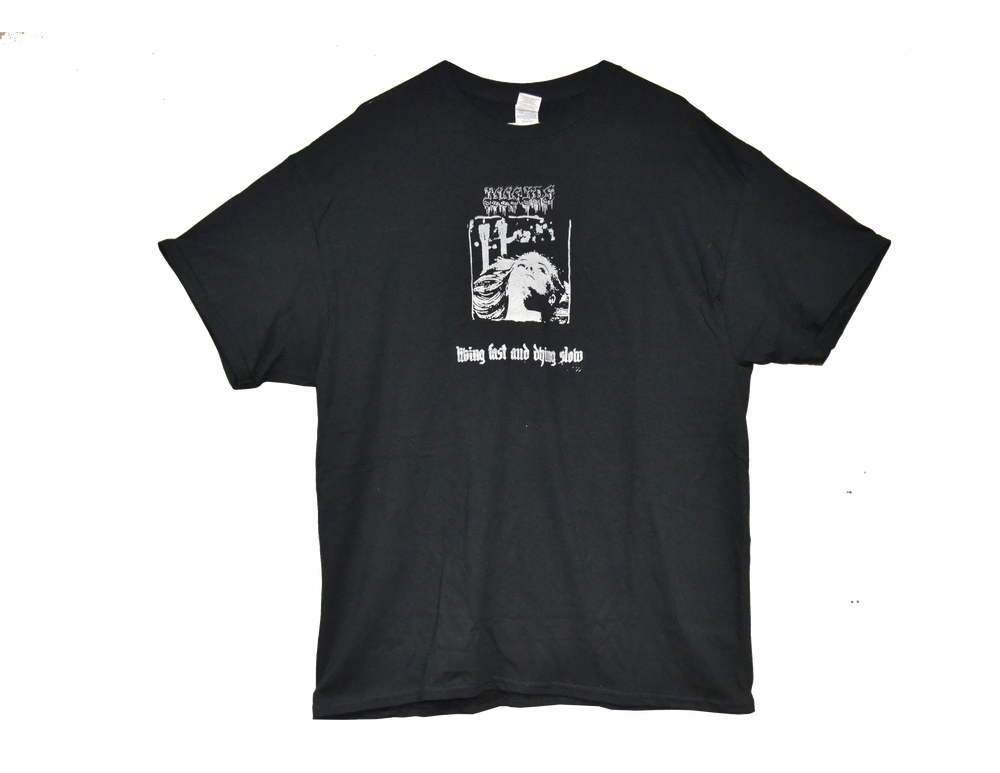 "Image of ""LIVING FAST & DYING SLOW"" - T-SHIRT (BLACK)"
