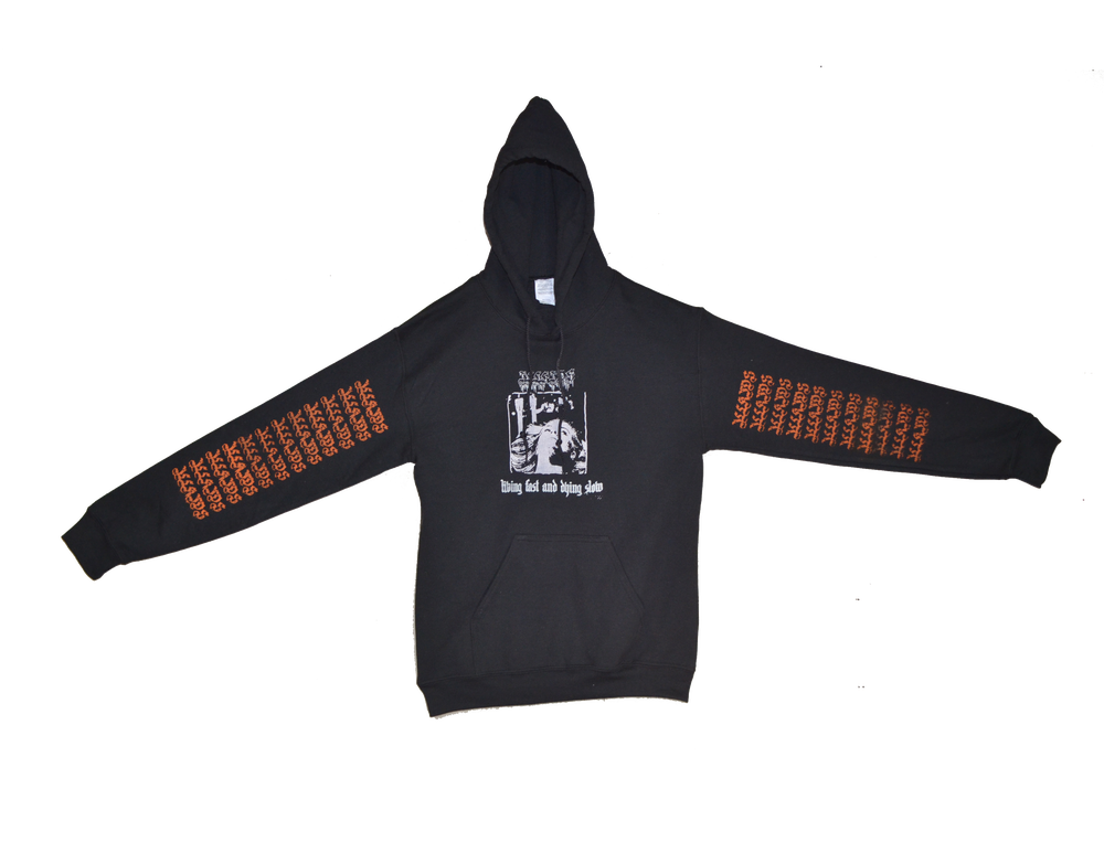 "Image of ""LIVING FAST AND DYING SLOW"" - HOODIE (BLACK/ORANGE)"
