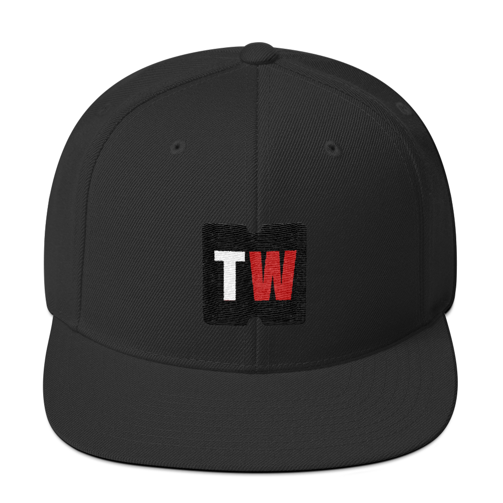 Image of Black Snapback with Black Ticketwin Icon and Logo
