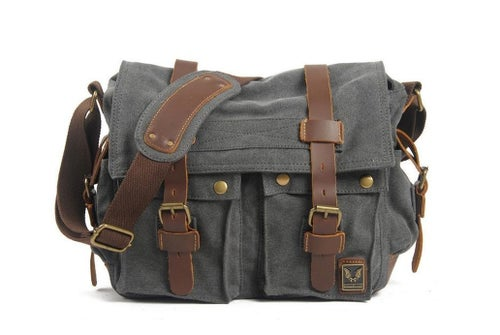 Image of Canvas Leather Messenger Bag, Crossbody Bag for Men, Shoulder Bag, Laptop Bag 2138K