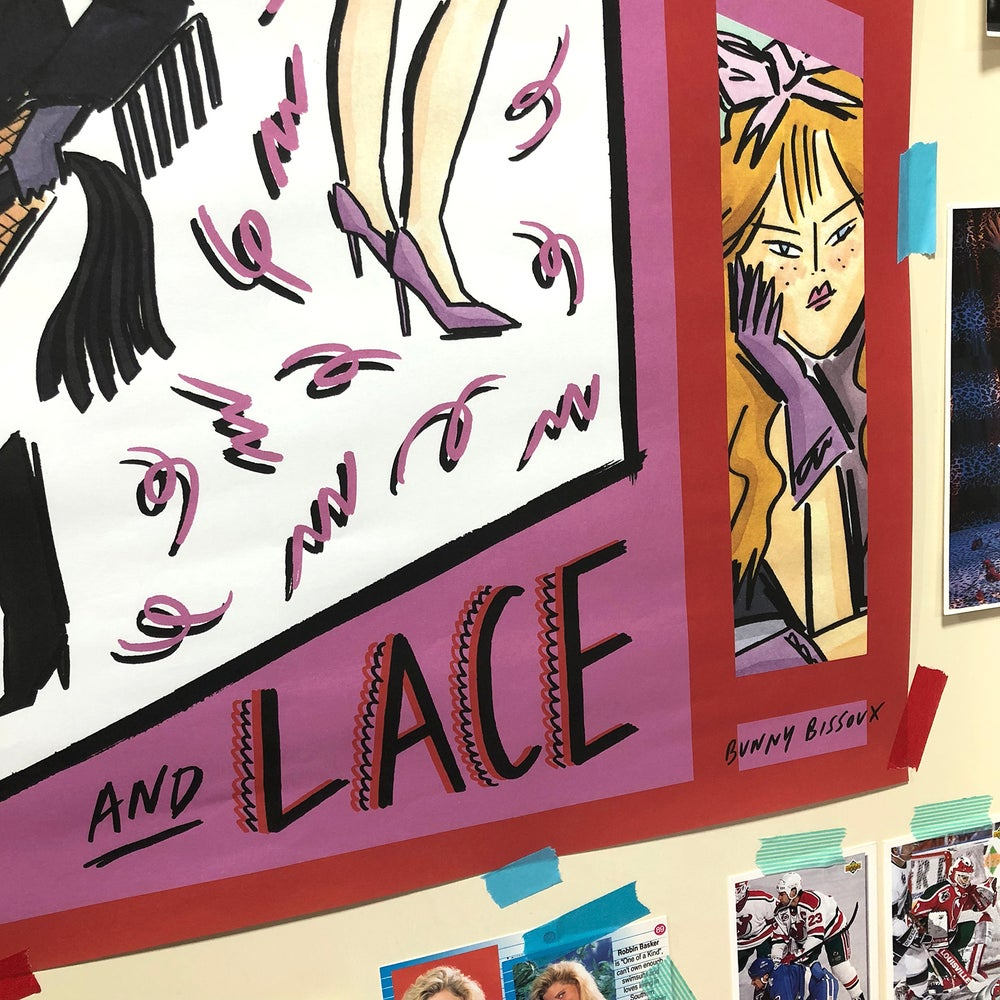 Image of 'LEATHER & LACE' A2 POSTER - BUNNY BISSOUX