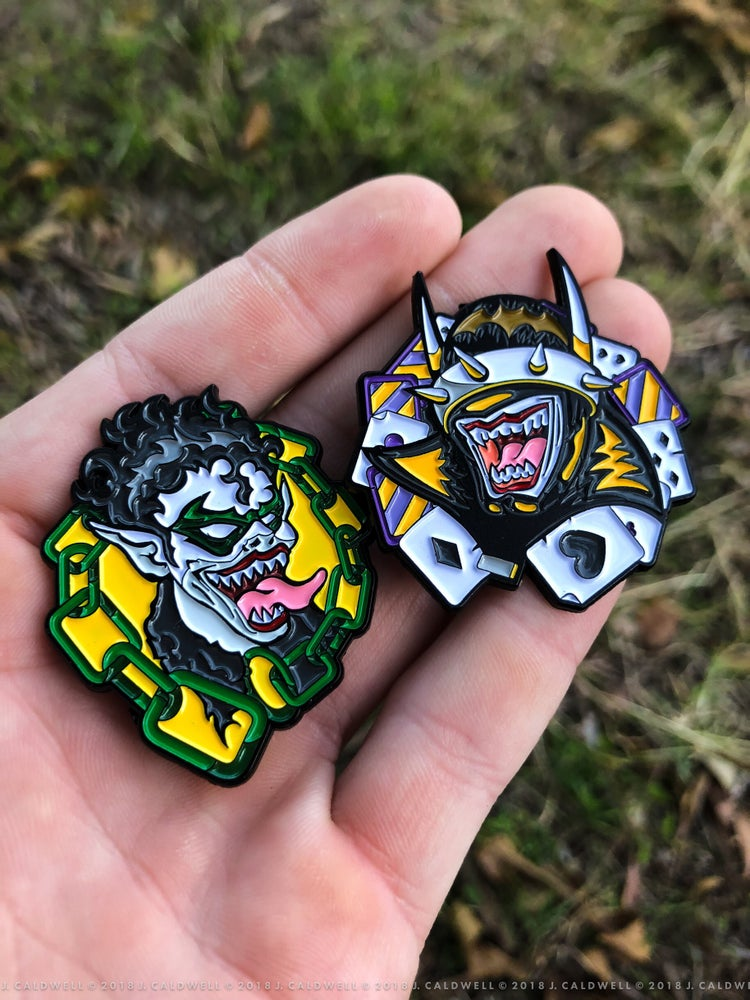 "Image of ""Batman Who Laughs"" & ""Robin"" Enamel Pins 