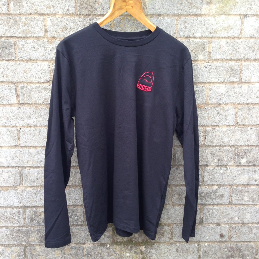 Image of Ecosie McSharky Embroidered Organic Cotton Long Sleeve T-shirt.