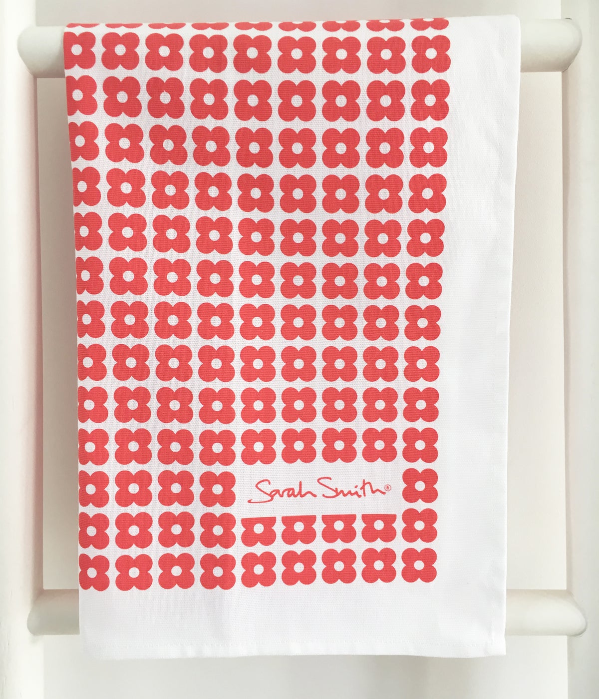 Image of Cotton Tea Towel - Red Daisy