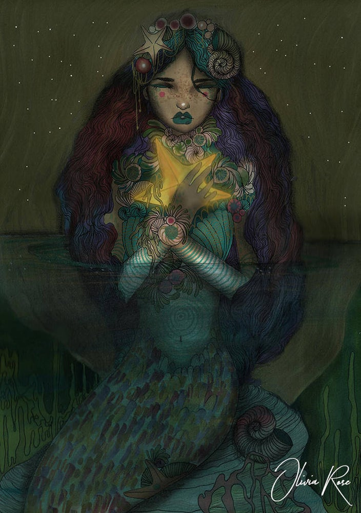 Image of The mermaid and the star A4 print