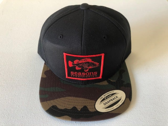 Image of SEASONS - BLACK / CAMO BILL SNAP BACK - ROCK COD