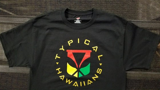 Image of Typical Hawaiians Kanaka Maoli with Kahili Black T-Shirt