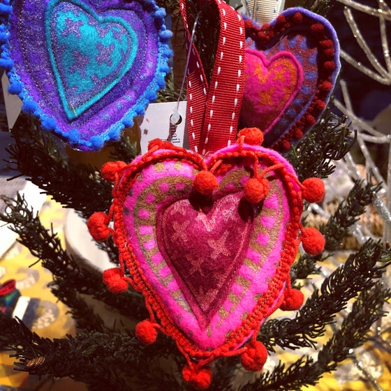 Image of Pink and Red Heart Decoration